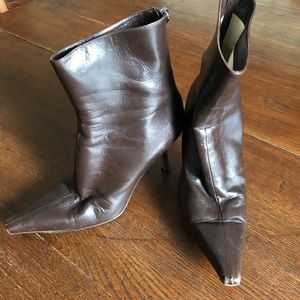 Jimmy Choo Pointed Toe Stiletto Booties Brown